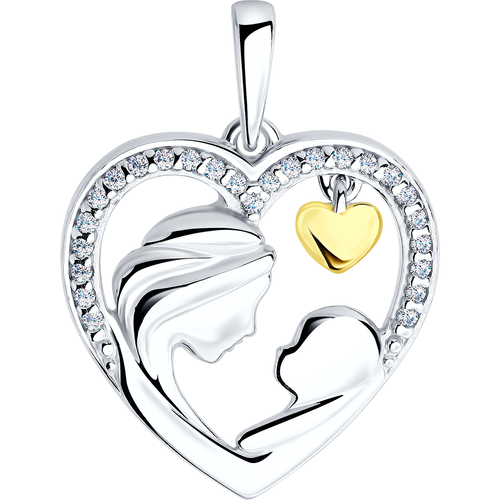 Paradis.Love Jewelry 925 Sterling Silver Rhodium Plated Pendant w/t Cubic Zirconia Crystals and Gold Heart