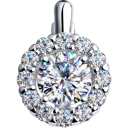 Paradis.Love Jewelry 925 Rhodium Plated Sterling Silver Round Halo Pendant w/ Swarovski Crystals 7.5 cttw