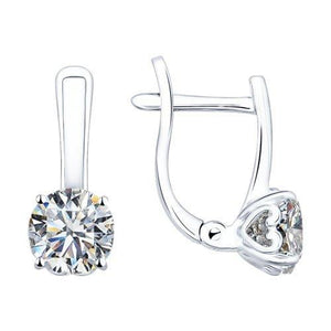 Paradis.Love Jewelry Sterling Silver Vintage Earrings w/t Cubic Zirconia Crystals