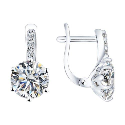 Paradis.Love Jewelry Sterling Silver Sparkling Love Earings w/t Swarovski Crystals.