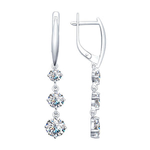 Paradis.Love Jewelry Sterling Silver English Lock Drop Earrings with Swarovski Crystals