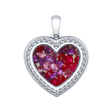 Paradis.Love Jewelry 925 Sterling Silver Rhodium Plated w/Rose Cubic Zirconia Gems and Sapphire Glass