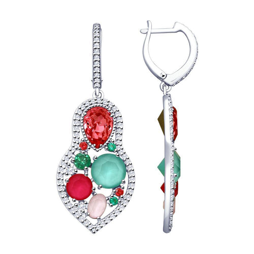Paradis.Love Jewelry .925 Rhodium Plated Sterling Silver Earrings with Swarovski and Cubic Zirconia Crystals