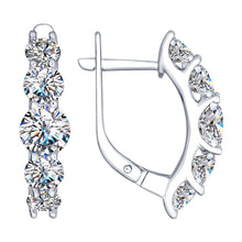 Paradis.Love Jewelry Sterling Silver .925  Earrings Rhodium Plated with Cubic Zirconia Crystals