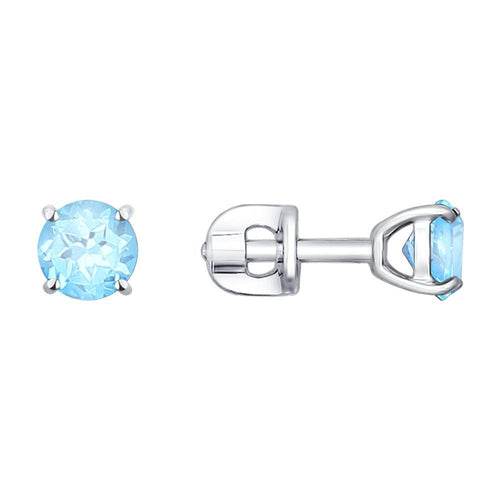 Paradis.Love Jewelry Sterling Silver Earrings with Light Blue Swiss Topaz Stone