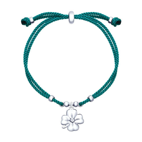 Paradis.Love Jewelry 925 Rhodium Plated Sterling Silver Lucky Four Leaf Clover Bracelet