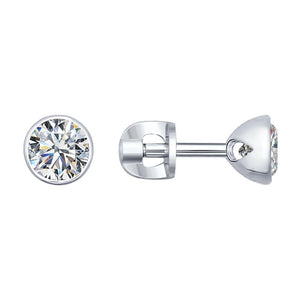 Paradis.Love Jewelry Sterling Silver Stud Earrings w/Cubic Zirconia Crystals