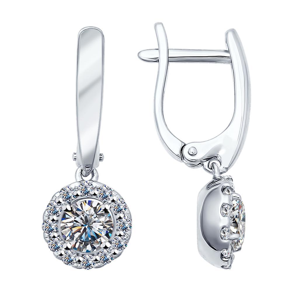 Paradis.Love Jewelry Sterling Silver Earrings .925 Rhodium Plated w/Cubic Zirconia Crystals
