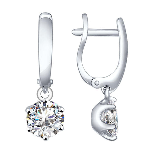 Paradis.Love Jewelry Sterling Silver Dangle Earrings with Cubic Zirconia Crystals