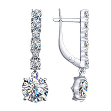 Paradis.Love Jewelry Sterling Silver Drop Earrings w/Cubic Zirconia Crystals
