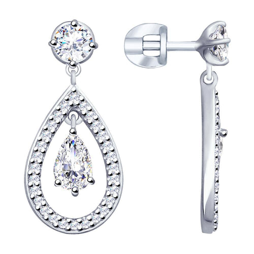Paradis.Love Jewelry Sterling Silver Drop Earrings with Cubic Zirconia Crystals