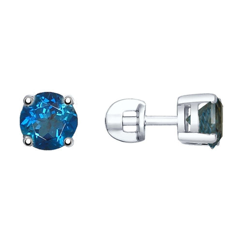 Paradis.Love Jewelry Sterling Silver Earrings with London Topaz Crystals