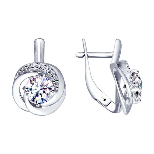 Paradis.Love Jewelry Sterling Silver Tornado Earrings with Swarovski Crystals