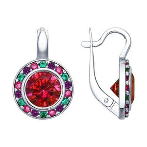 Paradis.Love Jewelry Sterling Silver Round Halo Earrings w/t Swarovski Crystals and CZ