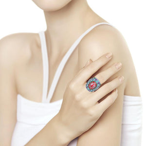 Paradis.Love Jewelry Sterling Silver Statement Ring w/t Swarovski Crystal and CZ