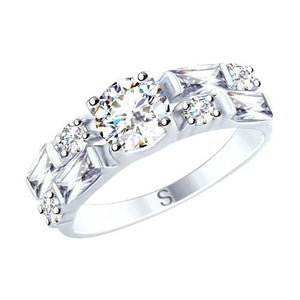 Paradis.Love Jewelry Sterling Silver Ring w/t Cubic Zirconia