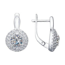 Paradis.Love Jewelry Sterling Silver Round Halo Earrings w/t CZ