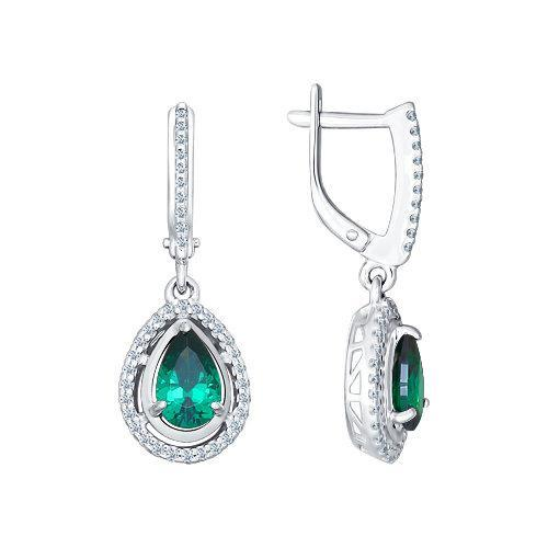 Paradis.Love Jewelry Sterling Silver Pear Shaped Earrings w/t Green CZ