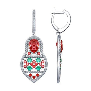 Paradis.Love Jewelry Sterling Silver Matryoshka Earrings w/t Pink Swarovski Crystals and CZ