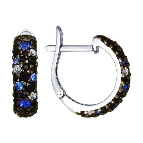 Paradis.Love Jewelry Sterling Silver Hoop Earrings w/ Black, Blue and Clear CZ