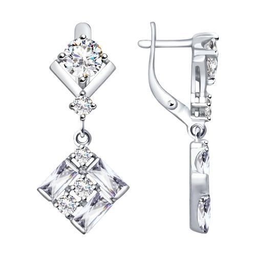 Paradis.Love Jewelry Sterling Silver Drop Earrings w/t CZ