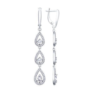Paradis.Love Jewelry Sterling Silver Drop Earrings w/ CZ