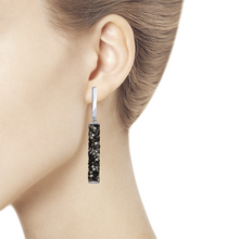 Paradis.Love Jewelry Sterling Silver Cylinder Shaped Earrings w/t Black Swarovski Crystals