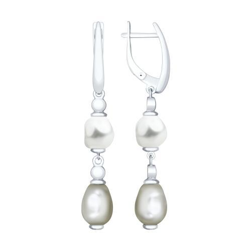 Paradis.Love Jewelry Sterling Silver Drop Earrings w/ Swarovski Pearls