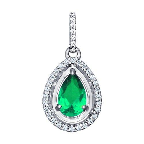 Paradis.Love Jewelry Sterling Silver Pear Shaped Drop Pendant w/t Green and Clear CZ