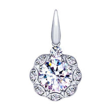 Paradis.Love Jewelry Sterling Silver Flower Shaped Pendant w/t Cubic Zirconia