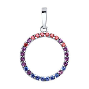 Paradis.Love Jewelry Sterling Silver Round Multicoloured Pendant w/t CZ