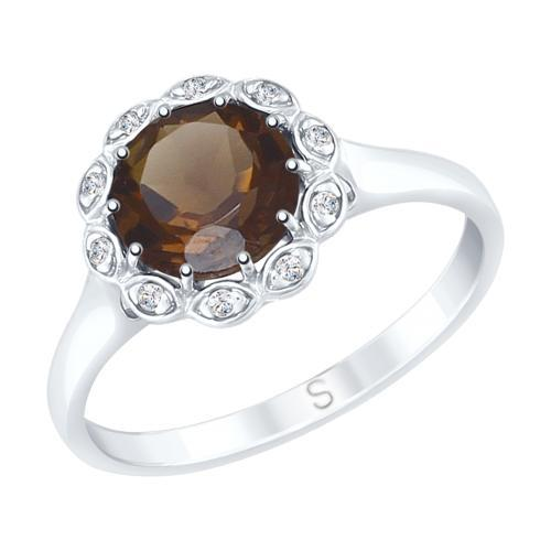Paradis.Love Jewelry Sterling Silver Flower Shaped Ring w/t Rauchtopaz and CZ