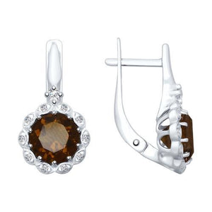 Paradis.Love Jewelry Sterling Silver Flower Shaped Earrings w/t Rauchtopaz and CZ