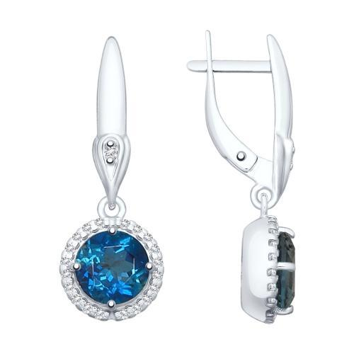 Paradis.Love Jewelry Sterling Silver Drop Earrings w/t Blue Topaz and CZ