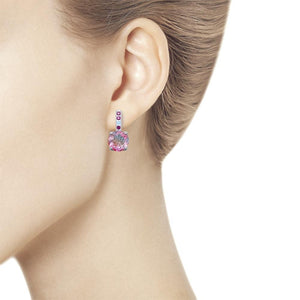 Paradis.Love Jewelry Sterling Silver Round Soft Pink Earrings w/t Sitall and Blue and Lilac CZs