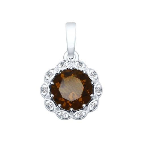 Paradis.Love Jewelry Sterling Silver Flower Shaped Pendant w/t Rauchtopaz and CZ