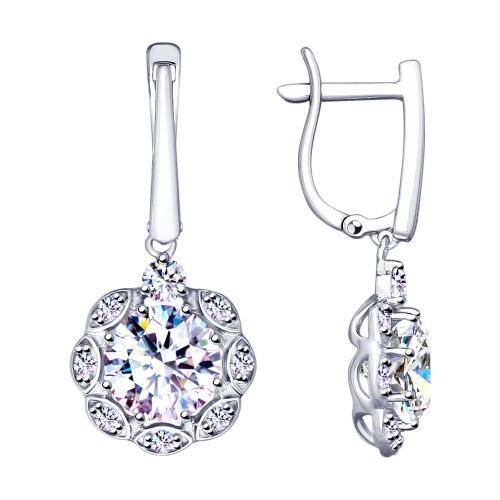Paradis.Love Jewelry Sterling Silver Amaryllis Drop Earrings w/t CZ