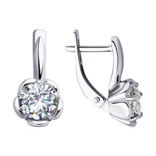 Paradis.Love Jewelry Sterling Silver Flower Shaped Earrings w/t CZ
