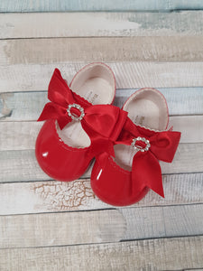 Red Patent soft bottom diamante  pram shoe