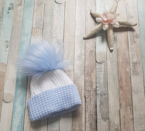 first size ribbed pom pom hats