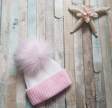 Load image into Gallery viewer, first size ribbed pom pom hats