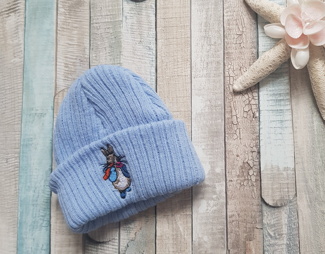 Premature baby knitted Peter Rabbit hat