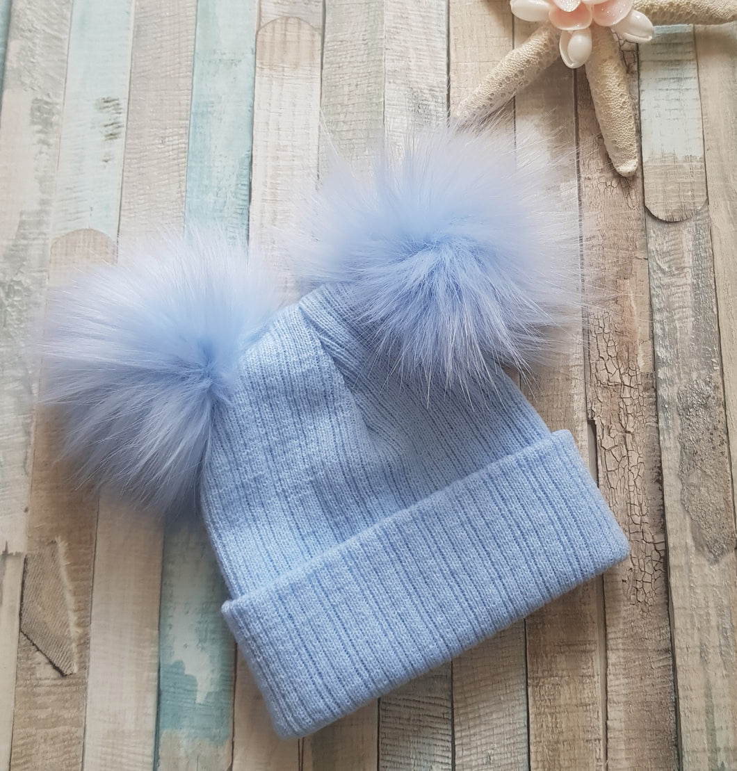 Double Blue faux fur pom pom knitted blue hat
