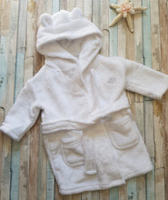 Load image into Gallery viewer, Personalised White Baby Hooded Dressing Gown