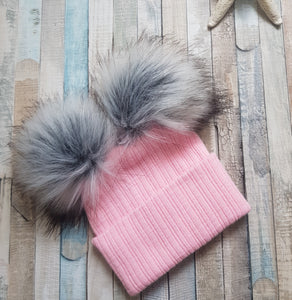 Knitted pink double faux fur pom pom hat