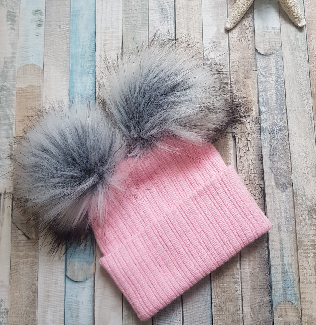 Personalised Knitted pink faux fur pom pom hat