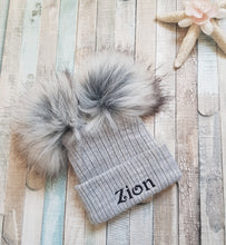 Load image into Gallery viewer, Personalised knitted grey double faux fur pom pom hat
