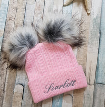 Load image into Gallery viewer, Personalised Knitted pink faux fur pom pom hat