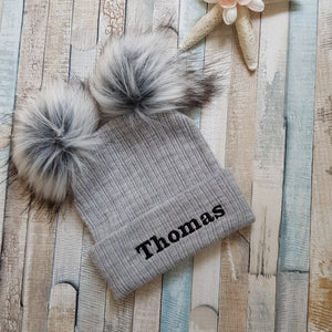 Personalised knitted grey double pom pom hat