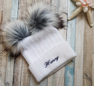 Personalised White Double faux fur knitted pom pom hat